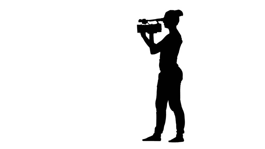 852x480 Operator Walking With Camera And Shooting A Film. White