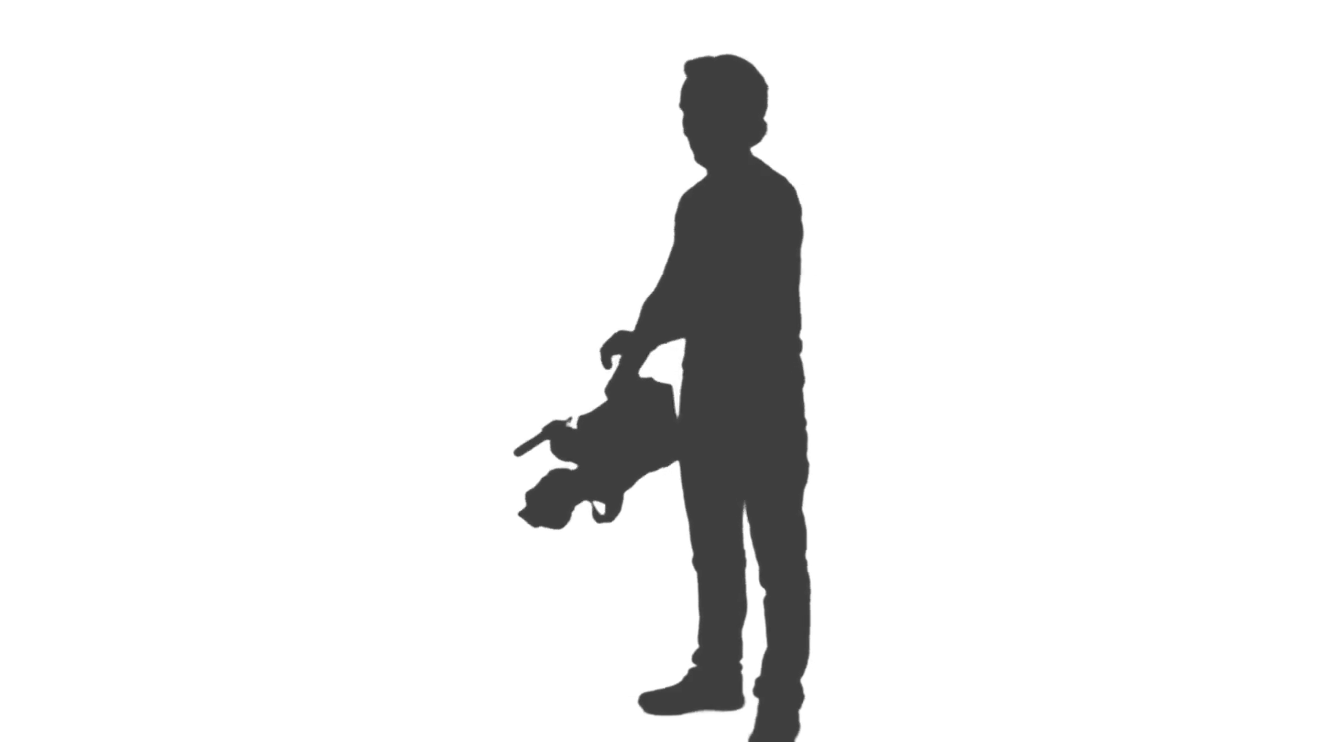 1920x1080 Silhouette Of Cameraman With A Camera Standing And Shooting A Film