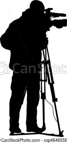 223x470 Cameraman With Video Camera. Silhouettes On White Vector