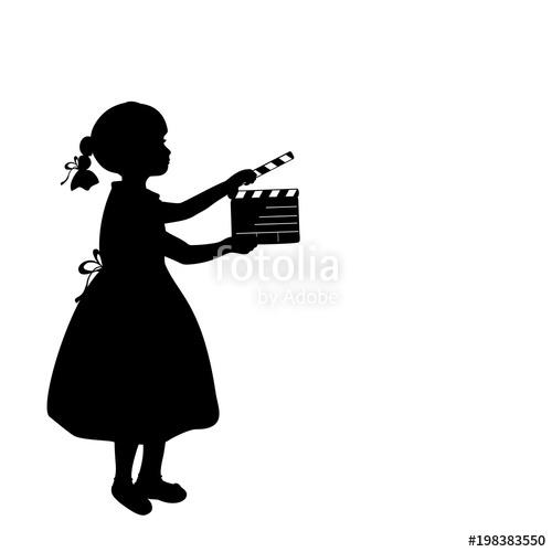 500x500 Silhouette Girl Makes Movies Film Camera. Stock Image And Royalty