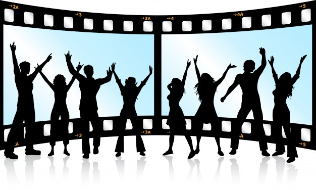 626x376 Silhouettes Of People Dancing On Film Strip Background Vector