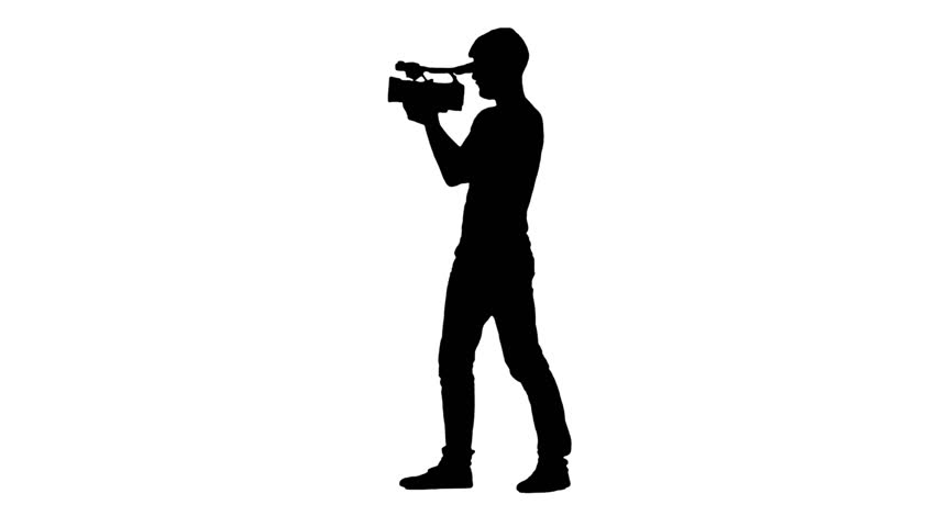 852x480 Videographer Works, Conducts Shooting Around Itself. Silhouette