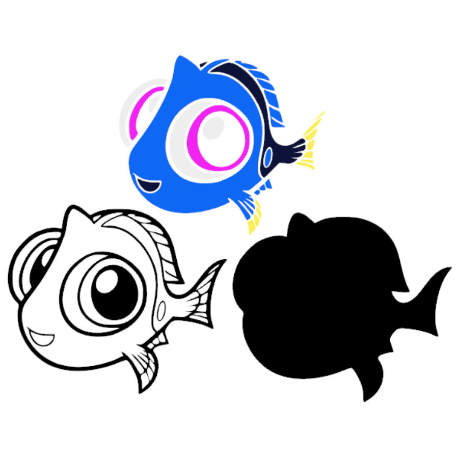903x903 Finding Dory Baby Nemo Layered Svg Dxf Png Cut File Disney Cartoon