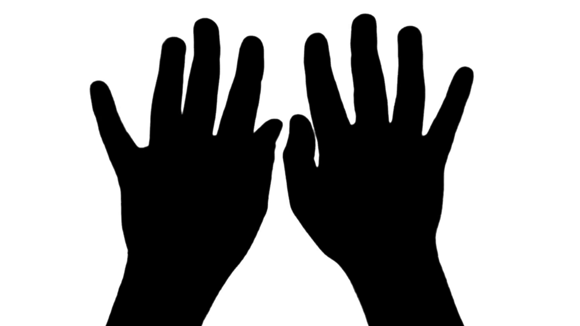 1920x1080 Hand Typing Top View Silhouette Isolated On White Stock Video