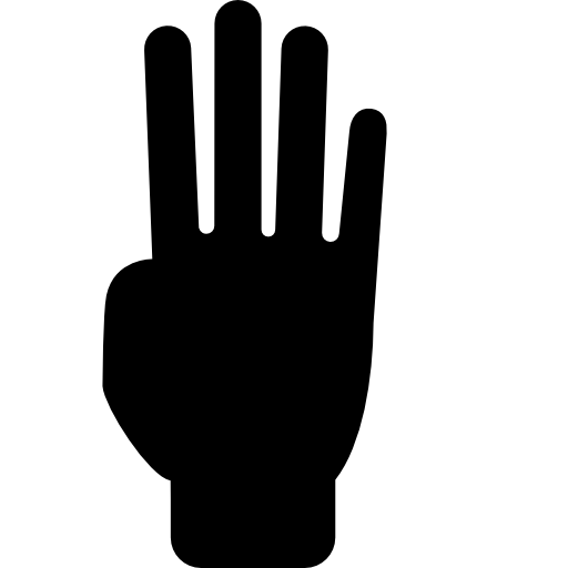512x512 Counting With Four Fingers Of Hand Silhouette