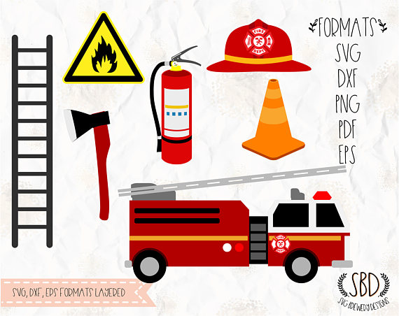 570x452 Fireman, Fire Truck, Svg (Layered), Png, Dxf, Eps For Cricut