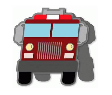 394x333 Fire Truck Card , Blank Inside , Free Confetti , Free Shipping