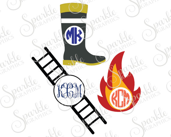 570x456 Firefighter Monogram Frame Cut File Firefighter Fireman Boots