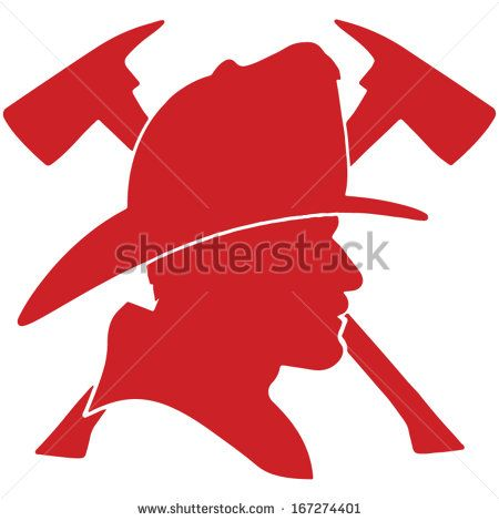 450x470 Firefighter Head With Helmet And Two Axes
