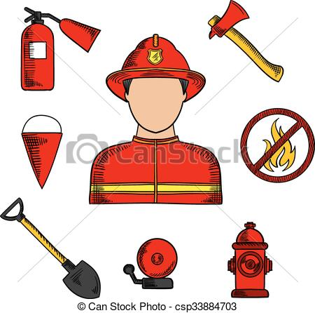 450x446 Fireman And Fire Fighting Symbols. Firefighter Or Fireman