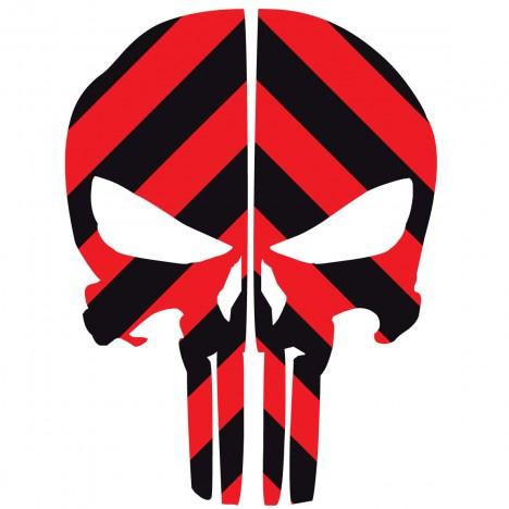 468x468 Punisher Skull Black Amp Red Chevron Reflective Rear Helmet Decal