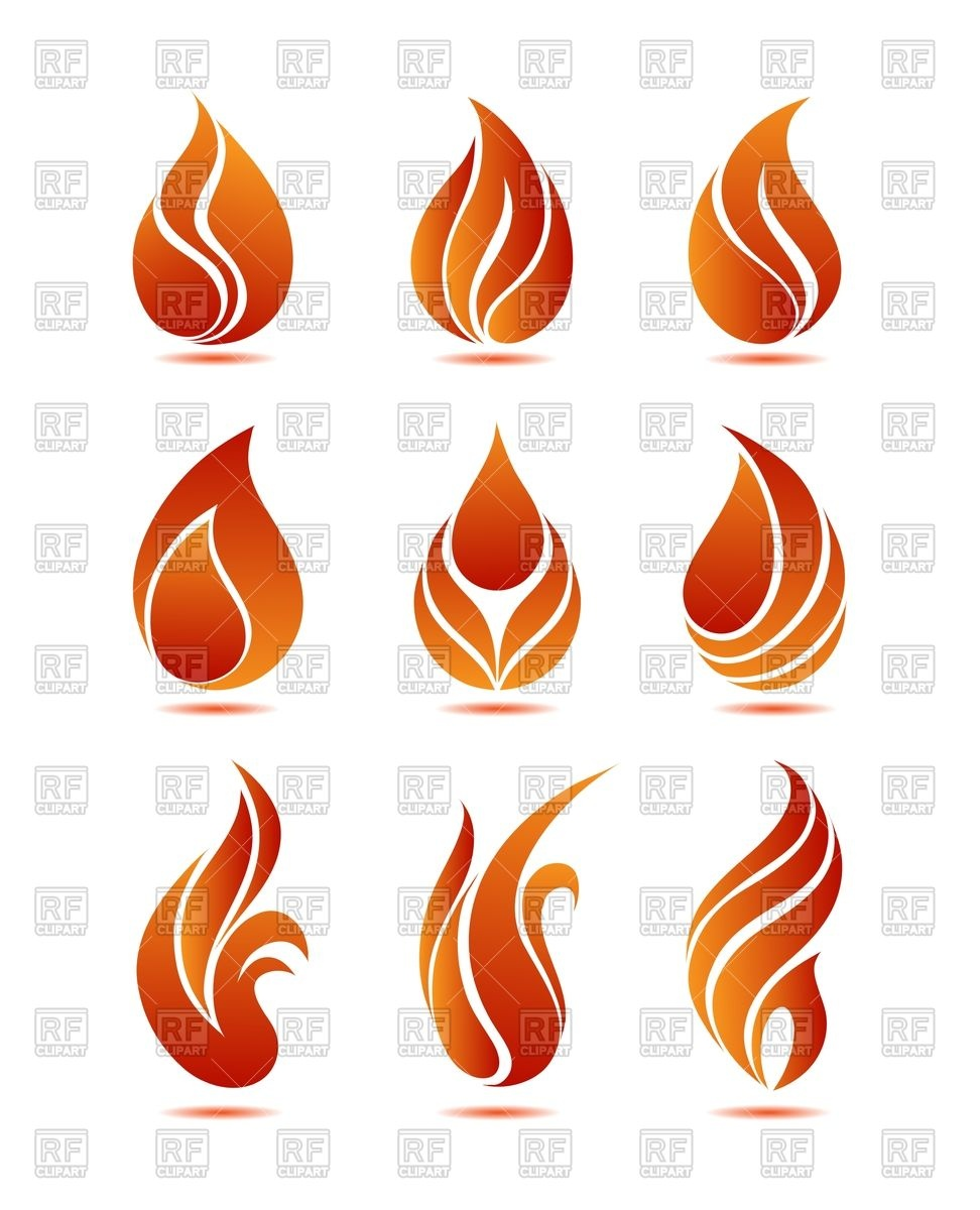 972x1200 Silhouette Of Red Fire Royalty Free Vector Clip Art Image