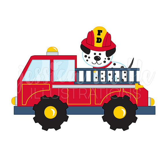 570x570 Fire Truck With Dalmatian Cute Digital Clipart Fire Truck