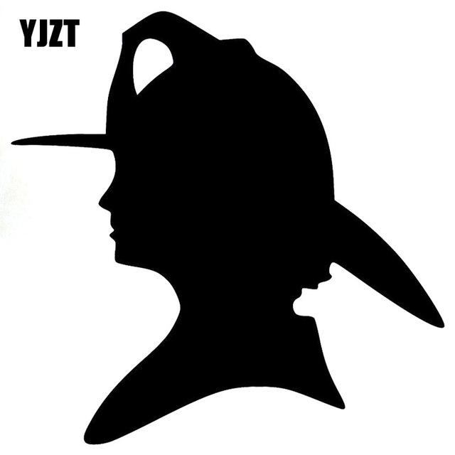 640x640 Yjzt 15x15cm Cartoon Firefighter Woman Silhouette Decal Black
