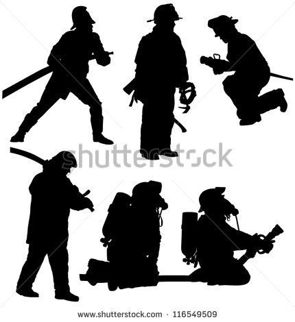 430x470 Firefighter Silhouette On White Background Fire