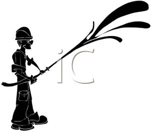 300x261 Black Silhouette Of A Firefighter With A Firehose