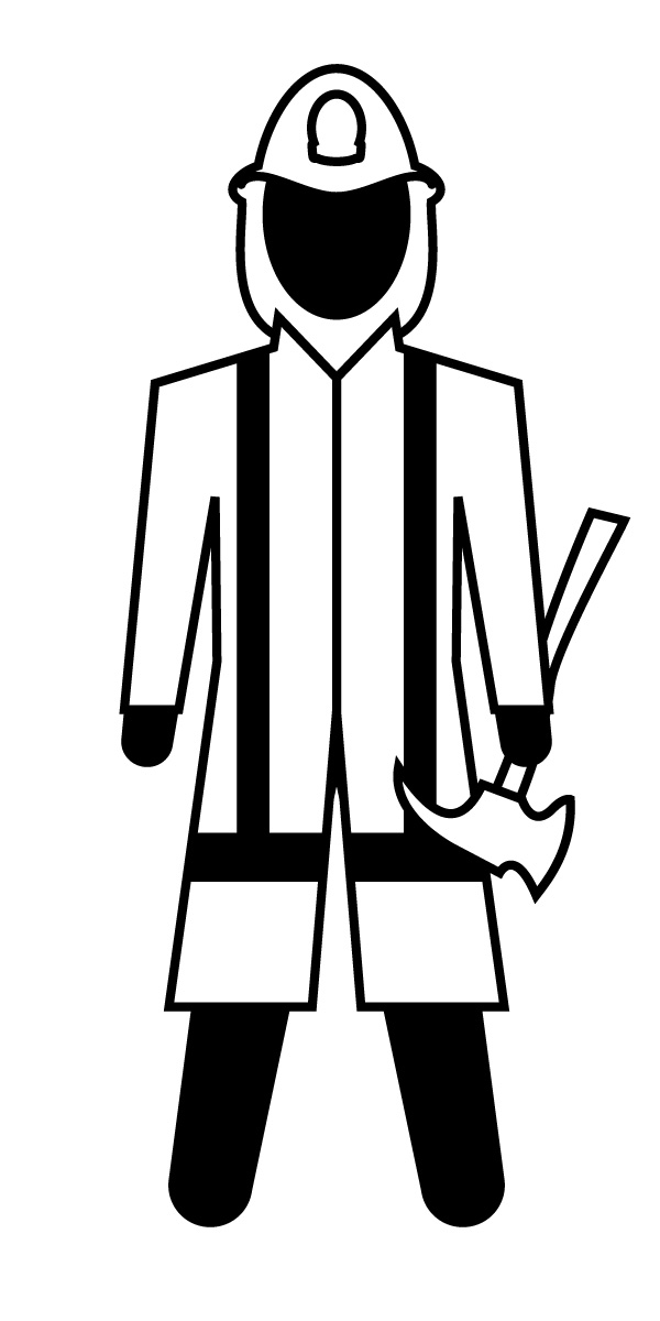 600x1200 Firefighter Silhouette Vector Clipart
