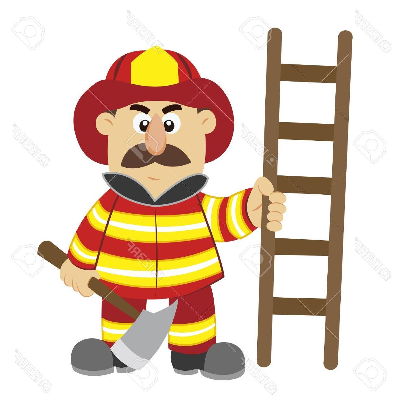 1300x1300 Best Free An Illustration Of Cartoon Fireman Vector Stock