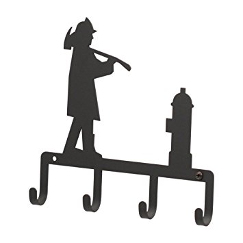 355x355 Kh 15 Fireman Silhouette Black Metal Key Holder Baby