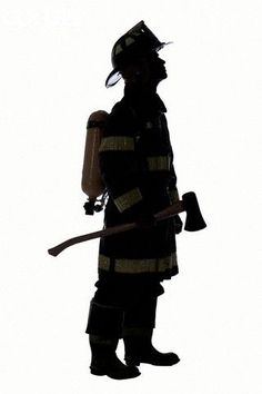 236x354 Firefighter Silhouette On White Background