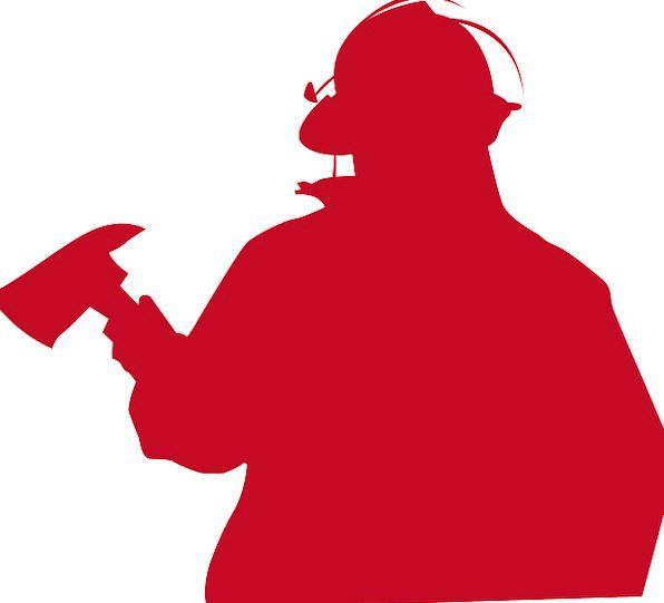 596x541 Fireman, Silhouette, Outline, Firefighter, Rescue, Rescuer, Savior