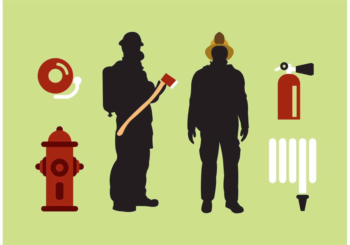 1400x980 Isolated Fireman Vector Set