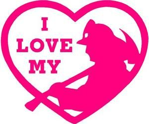 300x249 Pink Vinyl Decal I Love My Firefighter In Heart Fire Fighter Fun
