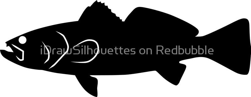 800x309 Sea Trout Fish Silhouette (Black) Canvas Prints By