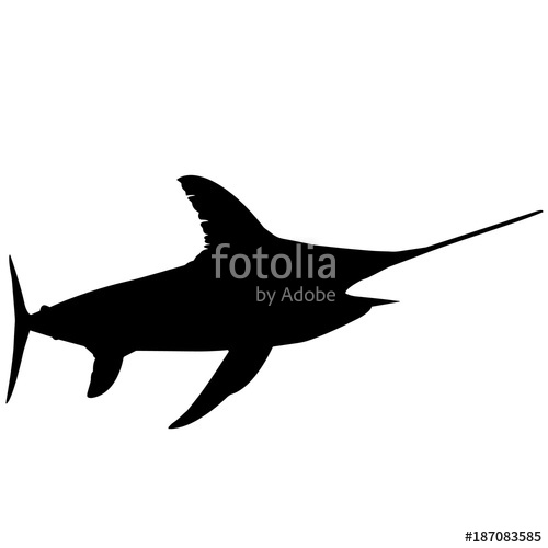 500x500 Sword Fish Silhouette Vector Graphics Stock Image And Royalty