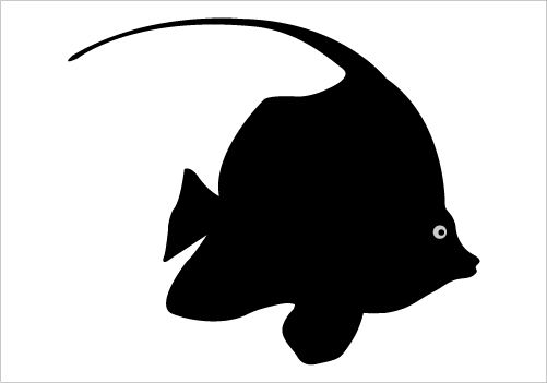 501x351 Ocean Fish Shilohuettes Coral Fish Silhouette Vector Drawing