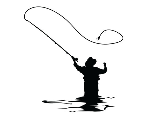 570x456 Fly Fishing Decal Fly Fish Sticker Outdoorsman Flyfishing