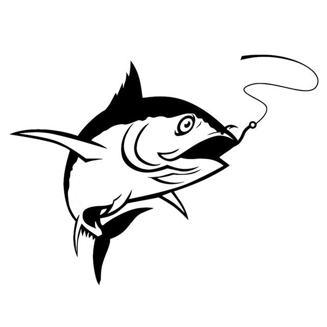 640x640 16.6cm12.4cm Interesting Fishing Silhouette Car Sticker Vinyl