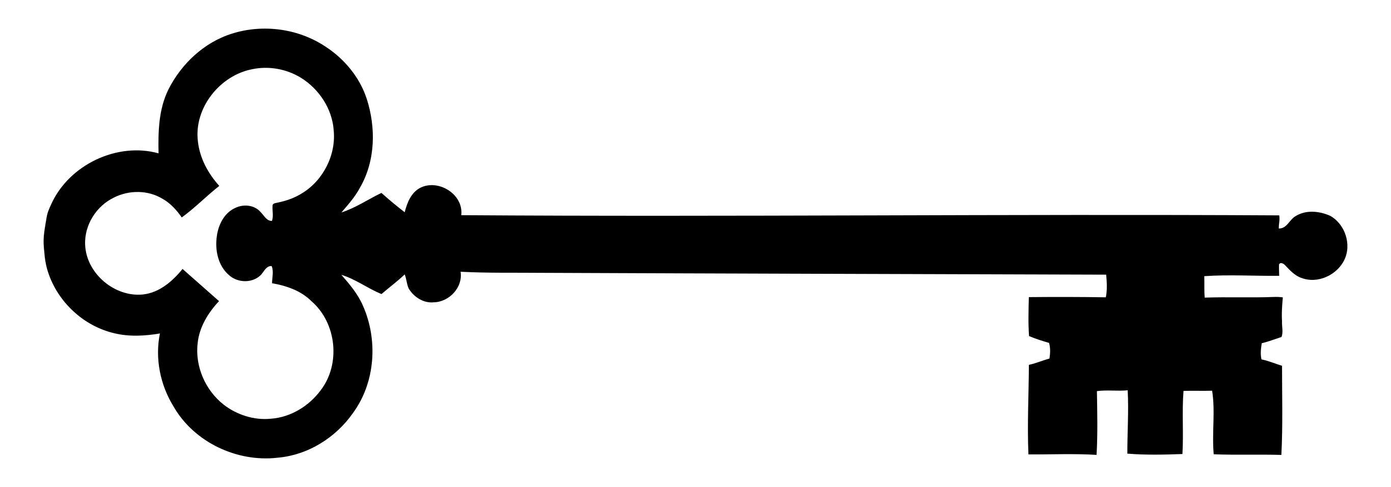 2731x957 Skeleton Key Silhouette Clipart