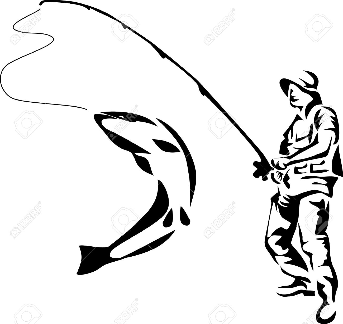 1300x1231 Fly Fishing Clipart Black And White Amp Fly Fishing Clip Art Black