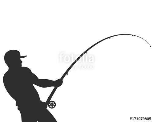 500x400 Silhouette Of A Fisherman With A Fishing Rod Vector Stock Image