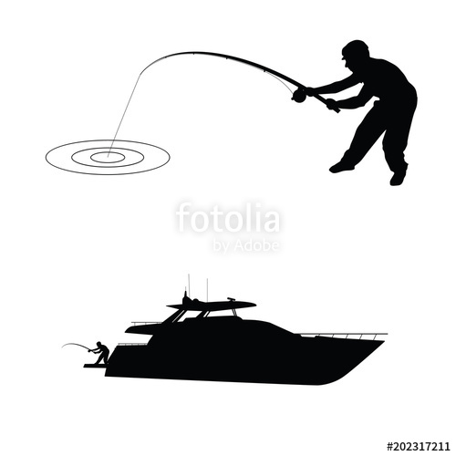 500x500 Fisherman Silhouette With Boat Stock Image And Royalty Free