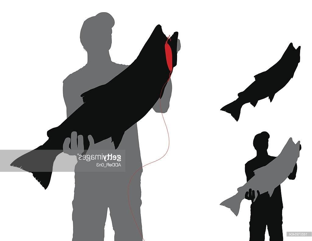 1024x791 Best 15 Trout With Lure And Fisherman Silhouette Vector Drawing