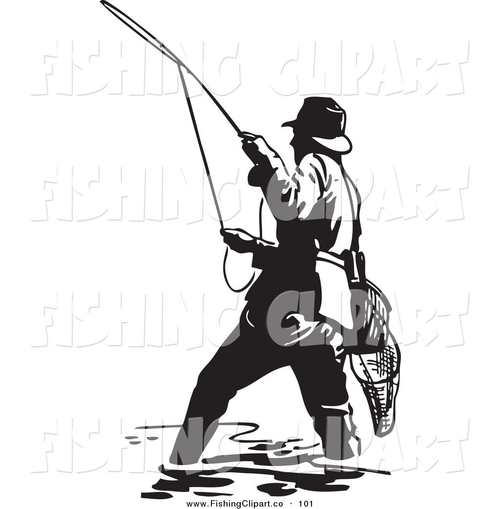 1024x1044 Fisherman Clipart Clip Art Of A Sporty Black And White Wading