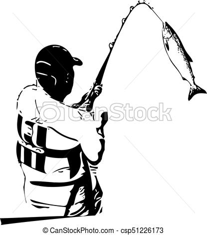 415x470 Illustration Of Man Fishing From The Boat Vectors Illustration