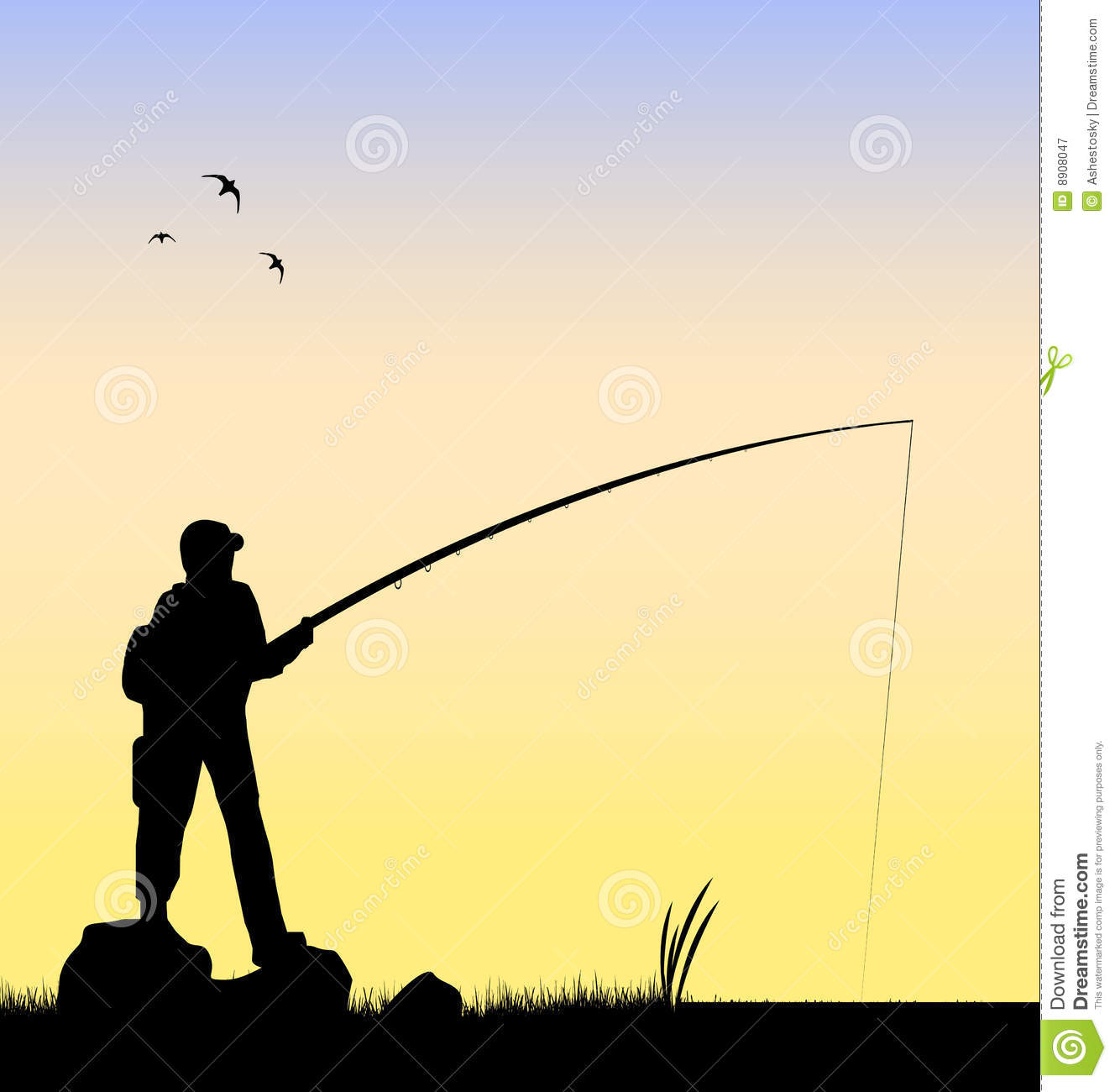 1328x1300 Fly Fishing Silhouette Vector