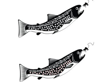 340x270 Trout Silhouette Etsy