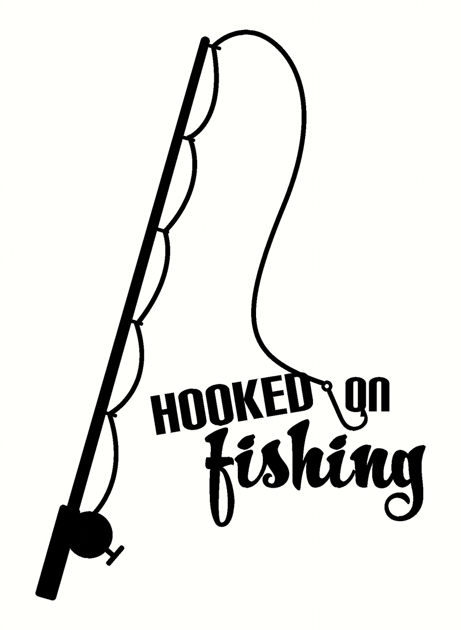 938x1280 Hooked On Fishing Wall Decal Sticker With Fish Pole