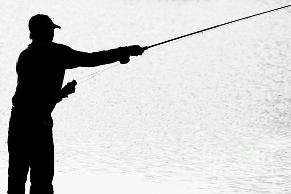 600x400 Silhouette Of A Fisherman Holding A Fishing Pole Bw Bath Towel