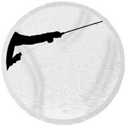 180x180 Silhouette Of A Fisherman Holding A Fishing Pole Bw Photograph By