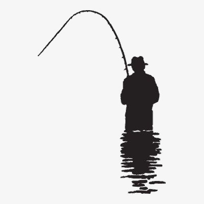 400x400 Fishing Silhouette, Black, Fishing, Fishing Rod Png Image