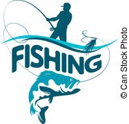 187x179 Silhouette Winter Fishing Rod And Fish On The Hook Vector Clipart