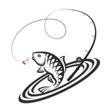 160x160 Fish And Fishing Rod Silhouette Stock Image And Royalty Free