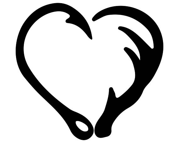 570x456 Fish Hook And Antler Heart Silhouette Clipart