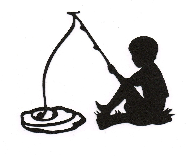 1500x1259 Boychild Fishing Silhouette Die Cut For Scrap Booking Or Card