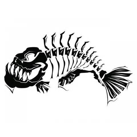 480x480 Large Size Skeleton Tribal Fish Fishing Tattoo